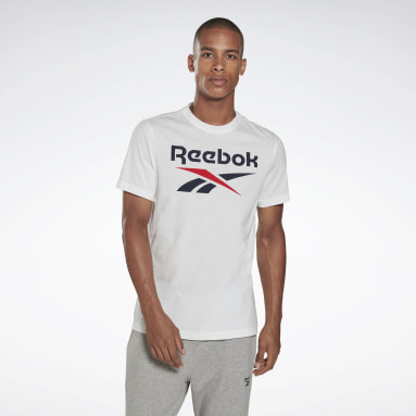 T-shirt Graphic Series Reebok Stacked Bianco Uomo Fitness & Training