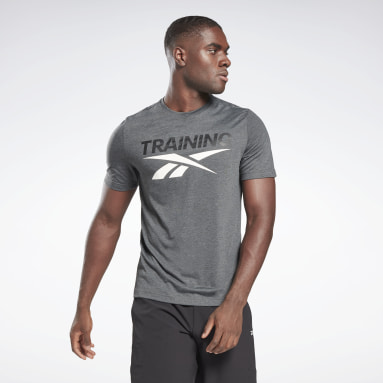 Men Cross Training Grey Reebok Training Vector T-Shirt