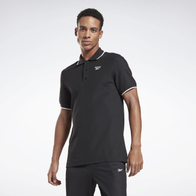 Männer Fitness & Training Training Essentials Polo Shirt Schwarz