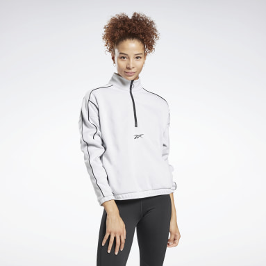 Frauen City Outdoor Workout Ready 1/2-Zip Sweatshirt Weiß