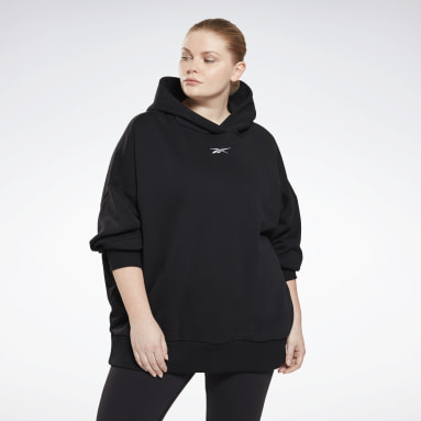 Women Studio Black Retro Oversize Hoodie (Plus Size)