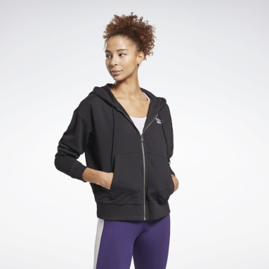 Felpa con cappuccio Reebok Identity Zip-Up Nero Donna Fitness & Training