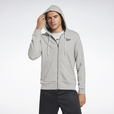 Men Fitness & Training Grey Reebok Identity Zip-Up Hoodie
