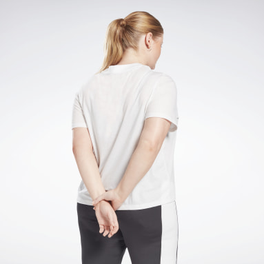 Women Training White Reebok Identity Cropped T-Shirt (Plus Size)