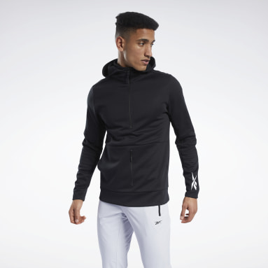 Men Hiking Black Knit Half-Zip Control Hoodie