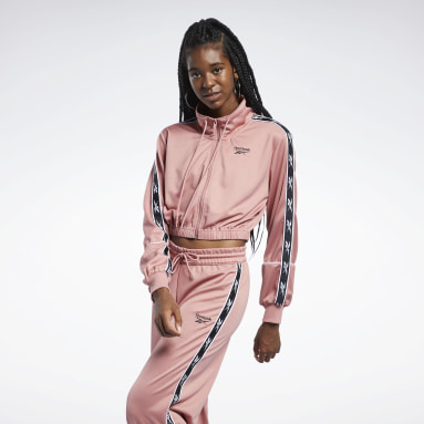 Women Classics Pink Reebok Classics Poly Taped Track Jacket