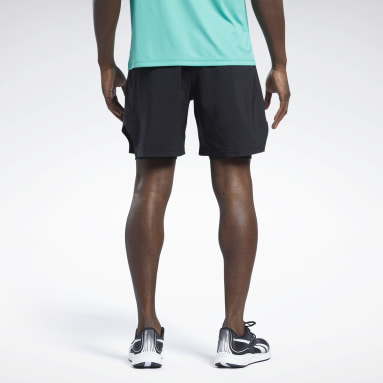 Men Hiking Black Running Two-in-One Shorts