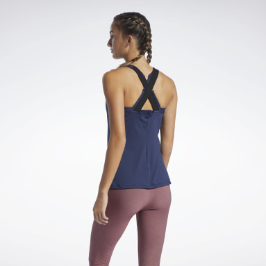 Camiseta sin mangas Les Mills® Bodypump® High-Intensity Azul Mujer Estudio