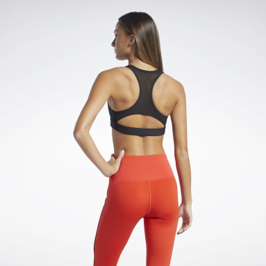 Women Studio Black Reebok Lux Racer Medium-Impact Sports Bra