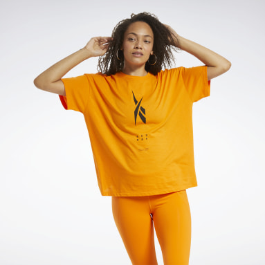 Women Hiking Orange Edgeworks Graphic Tee