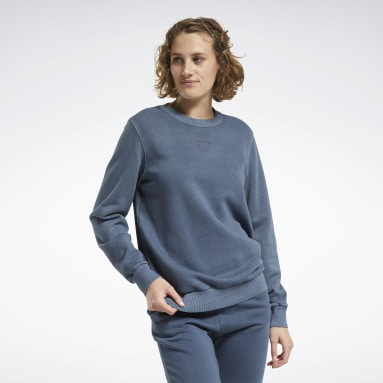 Women Classics Blue Classics Washed Crew Sweatshirt