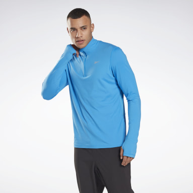 Men Running Blue Running Essentials Quarter-Zip Top