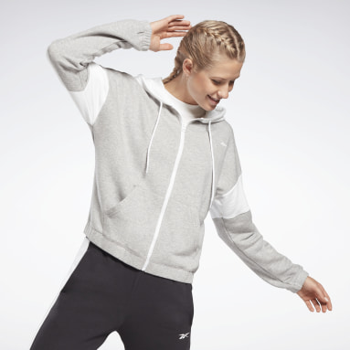 Women Fitness & Training Grey Linear Logo French Terry Zip Up Hoodie