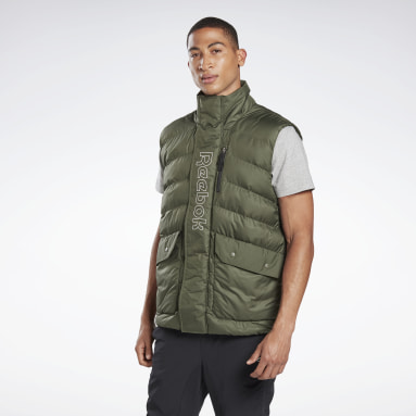 Men Training Green Outerwear Puffa Vest