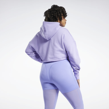 Women Classics Purple Cardi B Crop Sweatshirt (Plus Size)