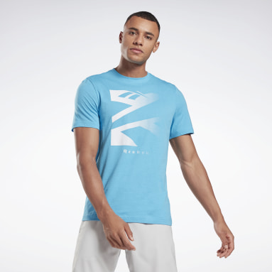 T-shirt Vector Fade Graphic Turquoise Hommes Fitness & Training
