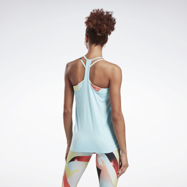 Women Pilates Blue Activchill Graphic Tank Top