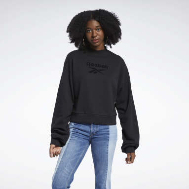 Women Classics Black Classics Mock Neck Crew Sweatshirt