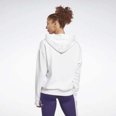 Women Fitness & Training White Reebok Identity Logo French Terry Hoodie