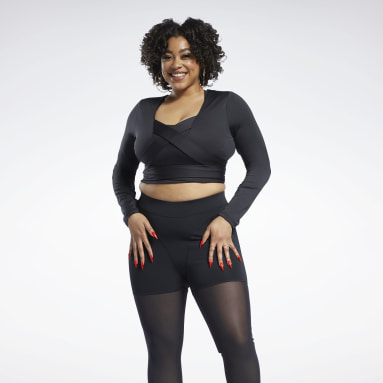 Women Classics Black Cardi B Long-Sleeve Top Crop Top (Plus Size)