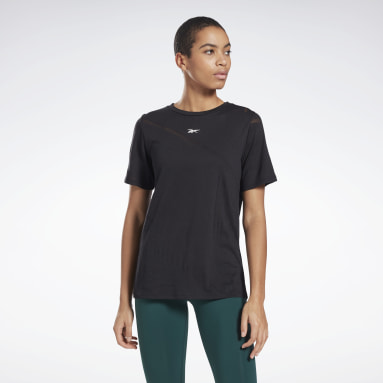 Women Yoga Black Burnout T-Shirt