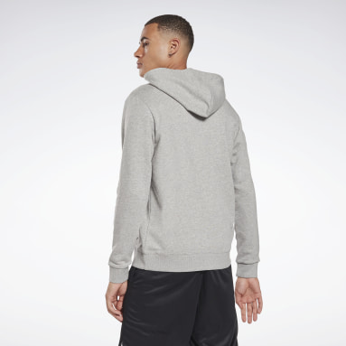 Men Fitness & Training Grey Reebok Identity Zip-Up Hooded Jacket