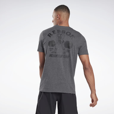 Men Cross Training Grey Reebok Weightlifting T-Shirt