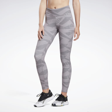Women Studio Grey LES MILLS® Reebok Lux Bold Tights 2.0 - AOP