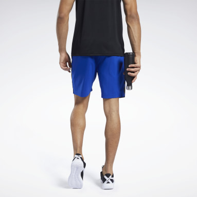 Men Training Blue Workout Ready Graphic Shorts