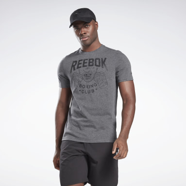Men Cross Training Grey Reebok Boxing Club T-Shirt