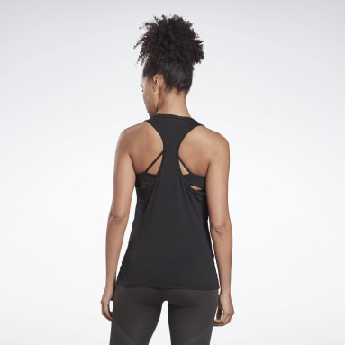 Women Fitness & Training Black GB Cotton Racer Vector Tank Top
