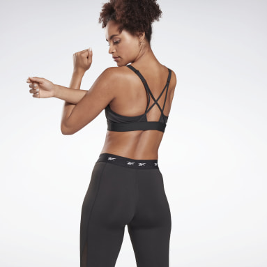 Women Studio Black Reebok Hero Medium-Impact Strappy Bra