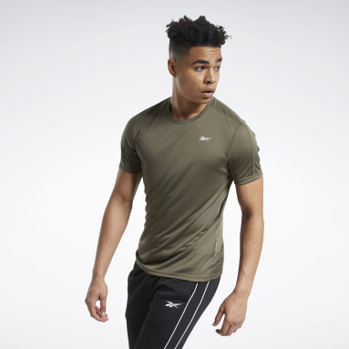 Men Yoga Green Workout Ready Polyester Tech Tee