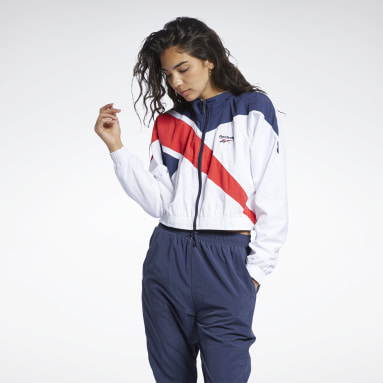 Women Classics White Reebok Classics Cropped Vector Track Jacket