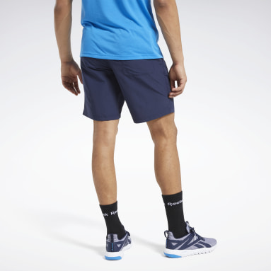 Men Casual Blue Training Essentials Utility Shorts
