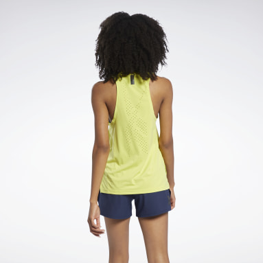Women Cycling Yellow United By Fitness Perforated Tank Top