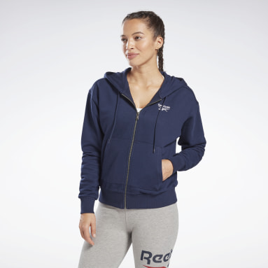 Women Training Blue Reebok Identity Zip-Up Track Jacket