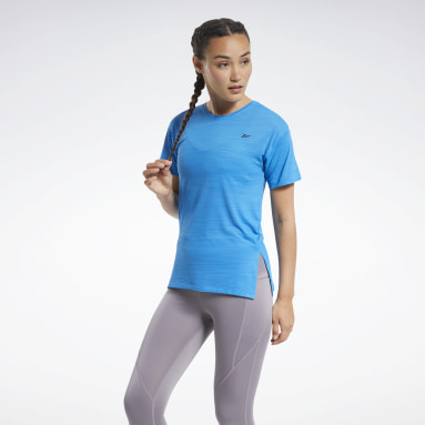 Women Cycling Blue Workout Ready ACTIVCHILL Tee