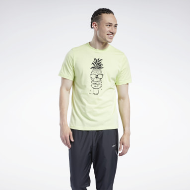 Men Training Yellow Chill Pineapple Graphic T-Shirt