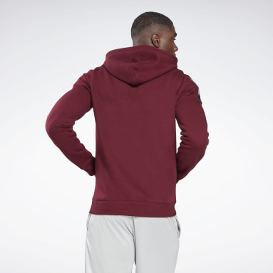 Men Fitness & Training Burgundy Training Essentials Tape Hoodie