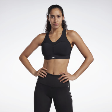 Women Cycling Black Reebok PureMove+ Bra Motion Sense ™