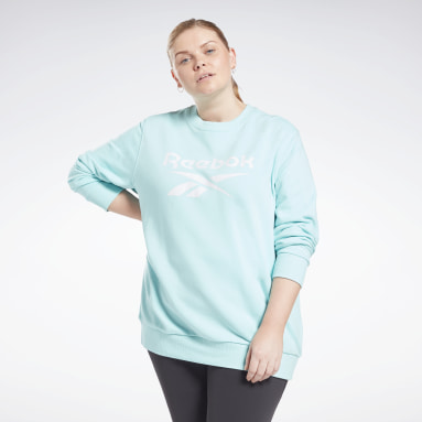 Women Fitness & Training Reebok Identity Logo French Terry Crew Sweatshirt (Plus Size)