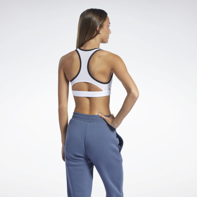 Women Dance White Reebok Lux Racer Medium-Impact Sports Bra