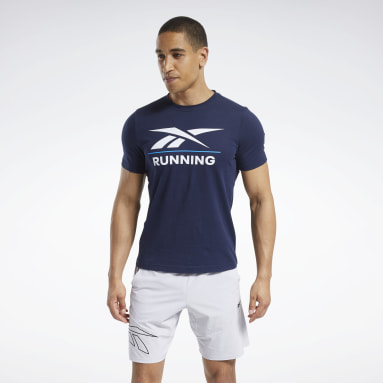 Men Cross Training Blue Reebok Running T-Shirt