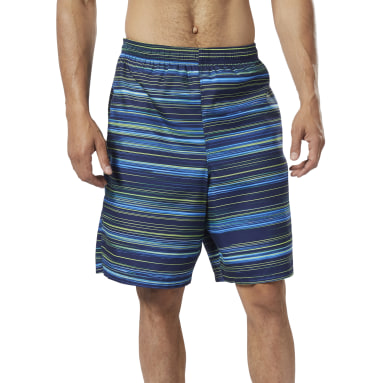 Men Swim Blue Basic Printed Volley Shorts