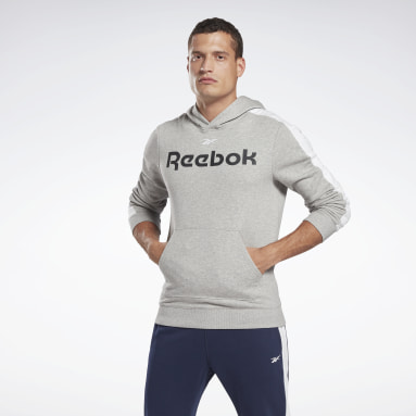 Men Fitness & Training Grey Training Essentials Linear Logo Hoodie