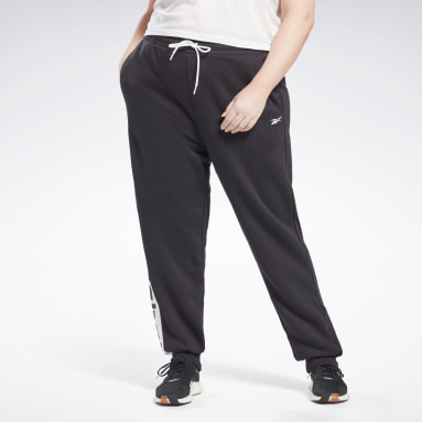 Women Fitness & Training Black Linear Logo French Terry Pants (Plus Size)