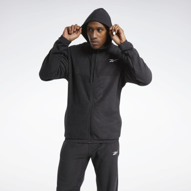 Men Fitness & Training Black Workout Ready Fleece Zip-Up Jacket
