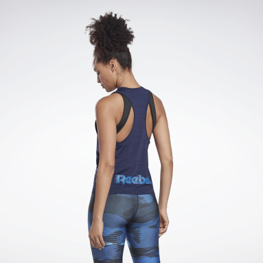 Women Running Blue Run ACTIVCHILL Tank Top