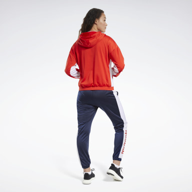 Women Fitness & Training Red Linear Logo Hoodie Tracksuit
